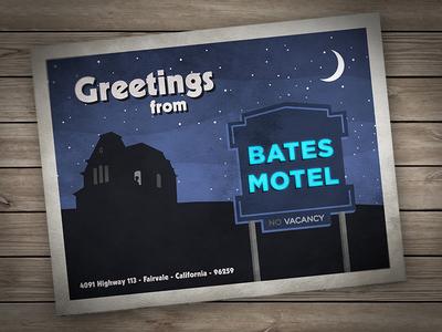 Greetings from Bates Motel psycho bates motel norman norma hitchcock postcard card motel hotel