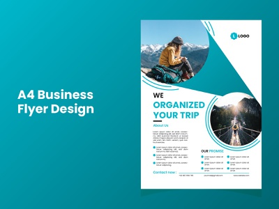 Travels Agency A4 Flyer Design vector eps creative trendy modern new a4 simple clean design flyer business agency travels