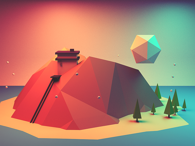 Low poly mountain house low poly c4d cinema 4d mountain house