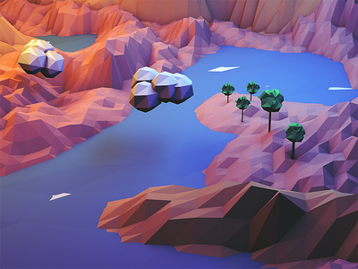 Lake low poly c4d cinema 4d lake