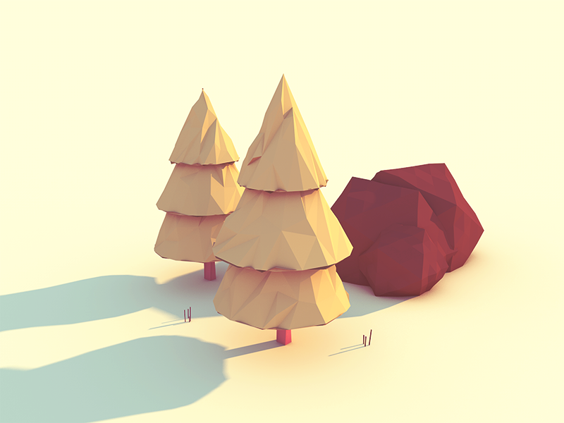 The Outdoors low poly c4d cinema 4d outdoors trees rock grass