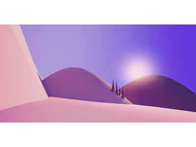 Sunrise desert sun mountains 3d cinema 4d c4d