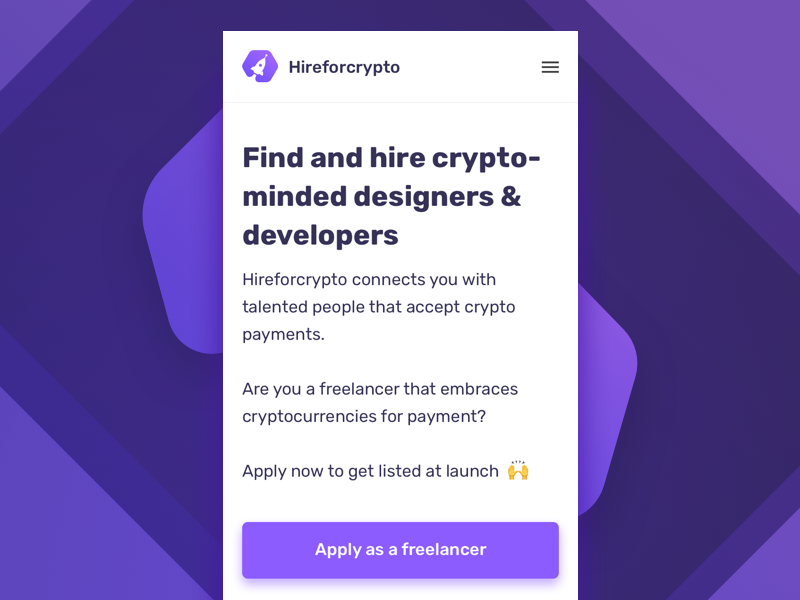 Hireforcrypto.com - signup now platform payments bitcoin cryptocurrencies freelancers crypto
