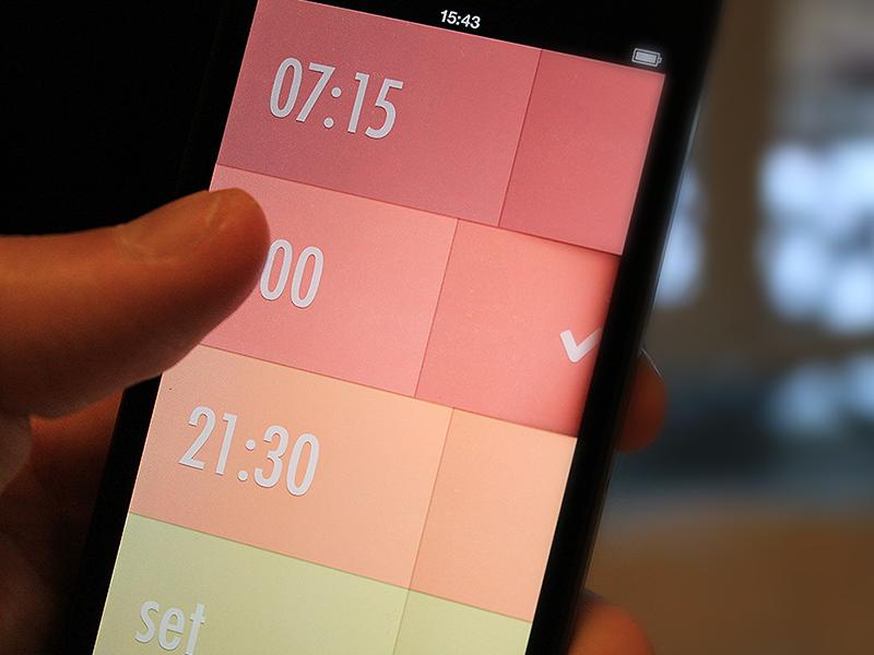 Alarm Clock (wip) alarm clock app iphone ios simple clean gestures animations textures subtle flat ios7