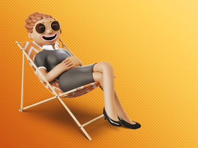 Foncia | A business woman on summer holidays 👩‍💼😎 blendercycles marketing design print branding trend characterdesign blender digital illustration marketing campaign 3d character illustration