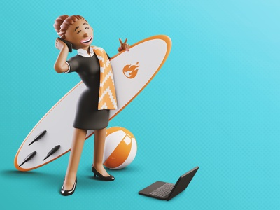 Foncia | 🏄‍♀️ A businesswoman busy during summer holidays 🏄‍♀️ marketing branding character design blendercycles trend marketing campaign illustration character blender 3d