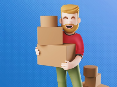 Foncia | 📦 A man moving to a new city 🏠 digital illustration print character design trend blendercycles illustration marketing campaign character 3d blender