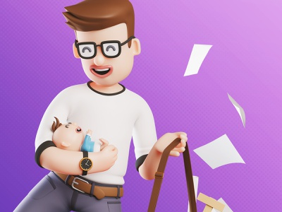 Foncia | 👶 a father overwhelmed between baby and work 🧔 digital illustration print trend marketing campaign marketing illustration character 3d blendercycles blender