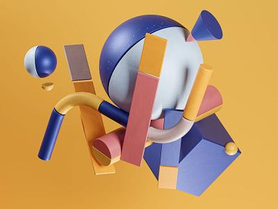 Iniens | Illustration website | Services background illustration minimal abstract geometry color palette cgi digital illustration trend marketing blender 3d