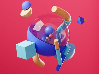 Iniens | Illustration website | Who category color palette minimal background abstract cgi trend illustration blendercycles blender 3d