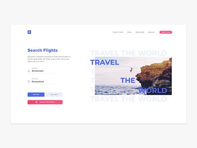 Flight Booking | Web concept design flight booking purple pink website design travel typography minimal flat app web website ux design ux ui design ui design