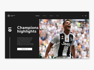 Champions League | Concept design champions league dark dark mode branding minimal website ux design ux ui design ui flat design