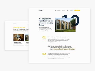 LAGOM Tiny houses | blog design typogaphy tekst blog design blog lagom webdesign web minimal website ux design ux ui design ui flat design