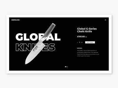 Global Knifes | Website Concept knifes dailyui e commerce black and white dark mode branding webdesign typography minimal website ui design ui flat design