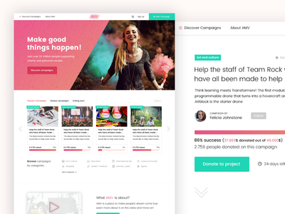 Crowdfund project user experience user interface donating pink red green webdesign website crowdfunding