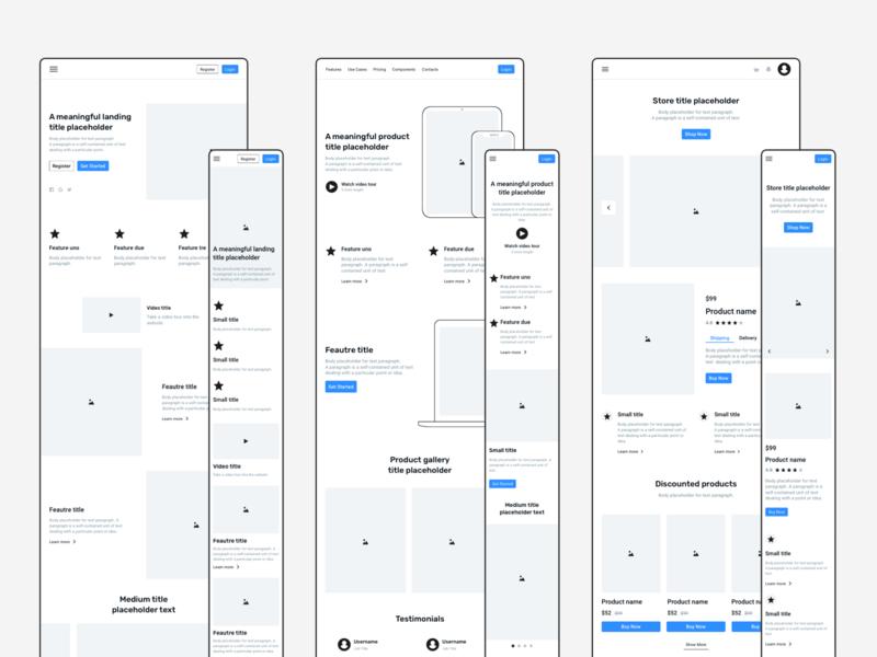Frames 2 - Responsive Templates for Sketch 🚀 landing page responsive website builder responsive template components typography web icons mobile ui kit symbols design system interface freebie sketch ux ui