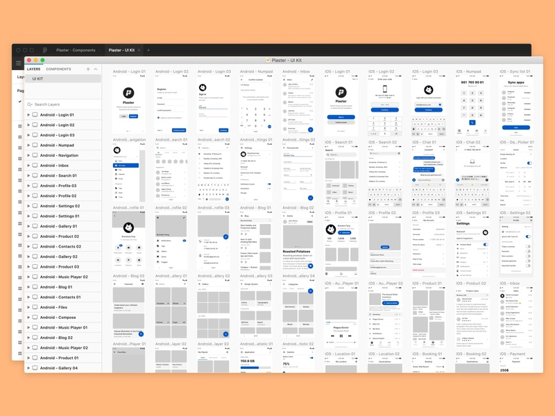 Plaster 2.1 - Design System Updated! wireframes kit app material web figma mobile icons ui kit symbols design system interface freebie sketch ux ui