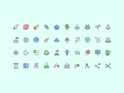 Pioneer Icons — Science Icon Set 🔬 graphic design developer ui designer web design alienware science illustration design elements ui design vector branding web icons symbols interface illustrator freebie sketch ux ui