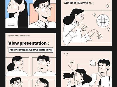Root Illustrations Update dance illustration art illustration web mobile ui kit symbols design system interface adobexd figma sketch ux ui