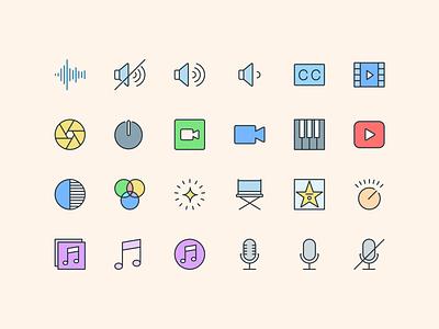 Pioneer Icons — Multimedia 📢 mic voice sound multimedia branding illustration design iconography icon set symbols freebie design system interface sketch ux ui