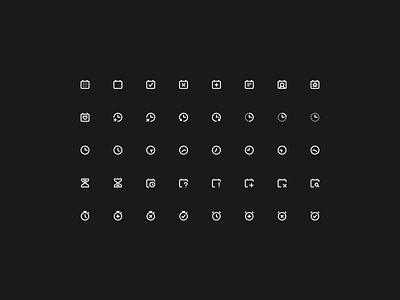 Super Basic Icons — Date & Time Set 🕓 hourglass components illustration design freebie symbols design system interface branding logo graphic design iconography date time free icon icons figma sketch ux ui