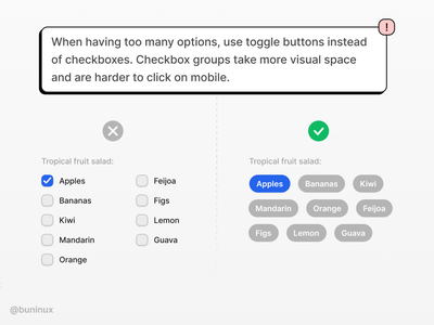 Checkboxes vs. Toggle Buttons ui tip branding learn checkbox buttons toggle tutorial design symbols freebie interface design system figma templates ux ui