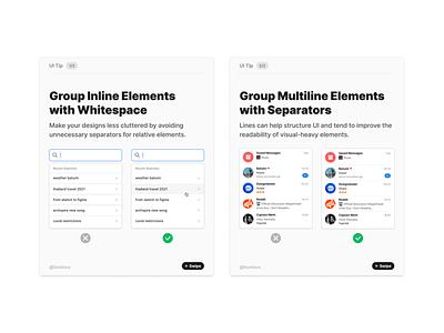 Grouping Inline Elements vs. Multiline Elements chat search branding design symbols freebie design system multilie inline ui tip tutorial interface sketch figma ux ui