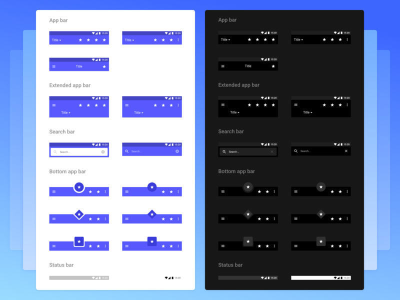 Plaster - Super Powerful Design System ⚡️ kit status bar search app bar components typography app material android ios symbols icons ui kit mobile interface freebie design system sketch ux ui