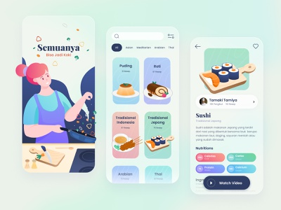 Recipes Apps and Illustration design app illustration chef ui  ux mobile app food cooking recipe apps