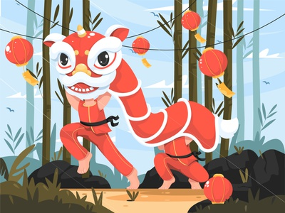 Happy Chinese New Year chinese culture chinese new year lion dance chinese illustration imlek
