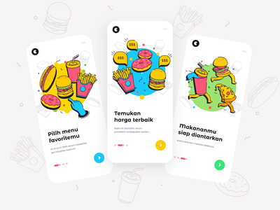 Onboarding Restaurant App app ui flat illustration graphic design chef apps onboarding restaurant app fast food