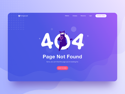 404 Page illustration design bubble animal violet blue ninja ui ux wave minimal space planet cat illustration web landing 404page 404