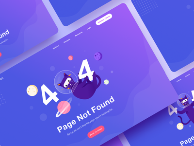 404 illustration explorations cats website ui uidesign sketchapp graphics gradient color gradient vector minimal landing illustration design cat bubble blue animal 404page 404