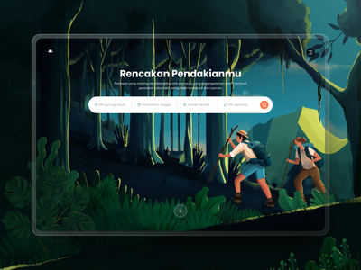 #Exploration - Hero illustration nature search bar form digital painting landing page hero website design digital illustration procreate vector tree dark forest booking porter mountain people