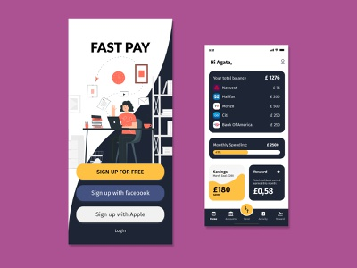 Fast Pay character budget app dailyui dribbble finance fintech app ux uxui productdesign product ui illustration design