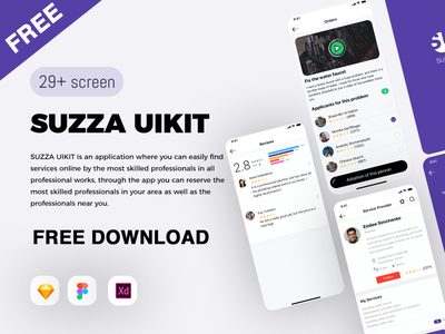 Suzza UIKIT download freebies freebie free ios vector design illustration ui application app design ux  ui uxdesign