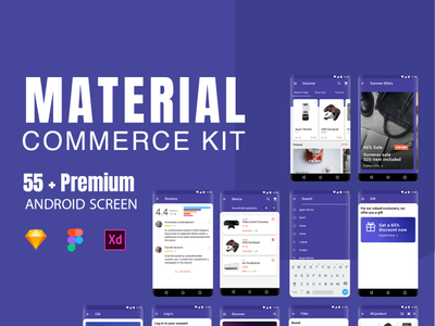 Material Commerce UI Kit android material design material material ui application app app design creativity creative design creative shopping cart shopping app ecommerce design ecommerce app ecommerce shopping materialdesign ux ecommerce2019