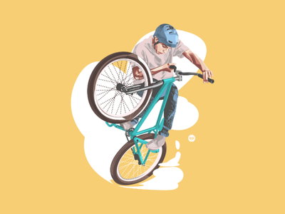 BMX style man trick art flat simple bicycle tracing design illustration