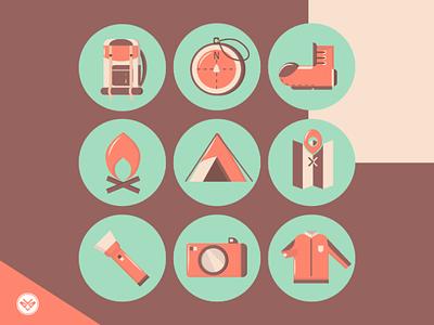 Adventure Icon illustration highlights set camp cover design icon set adventure flat icon