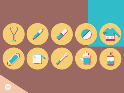 Medical Icon tools healthy medic minimal design illustration highlights icon set icon flat