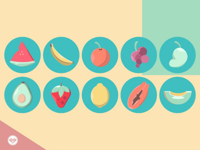 Fruits Icon healthy highlights design illustration fruits icon set icon minimal flat