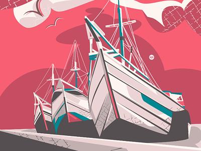 Harbour texture sea cloud ship scene tracing design vector illustration art harbour