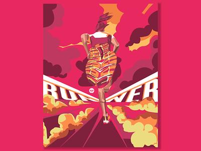Runner smoke women cloud illustrator detailed tracing shoes run art design illustration