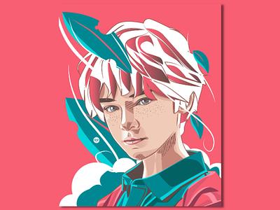 Boy Portrait wind men reality flat boy artwork tracing portraits design illustration art