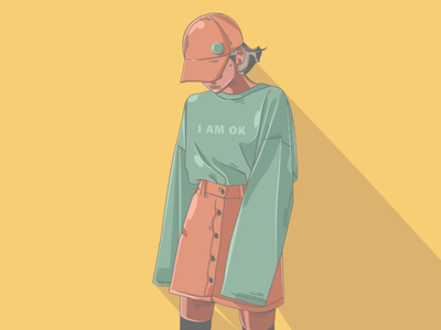 I Am OK face cartoon minimal simple flat tracing illustration art design
