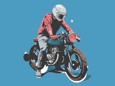 Rider motorcycle tracing simple detail man art design illustration bike rider
