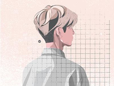Faded cartoon face minimal flat illustration man simple tracing art design