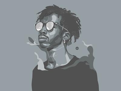 Monochromatic face man cartoon flat tracing art illustration design monochromatic