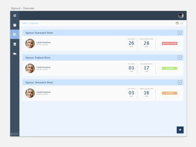 Equipment Sign-Out Tool management webapp app