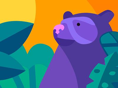 Oso de anteojos mural bear illustration